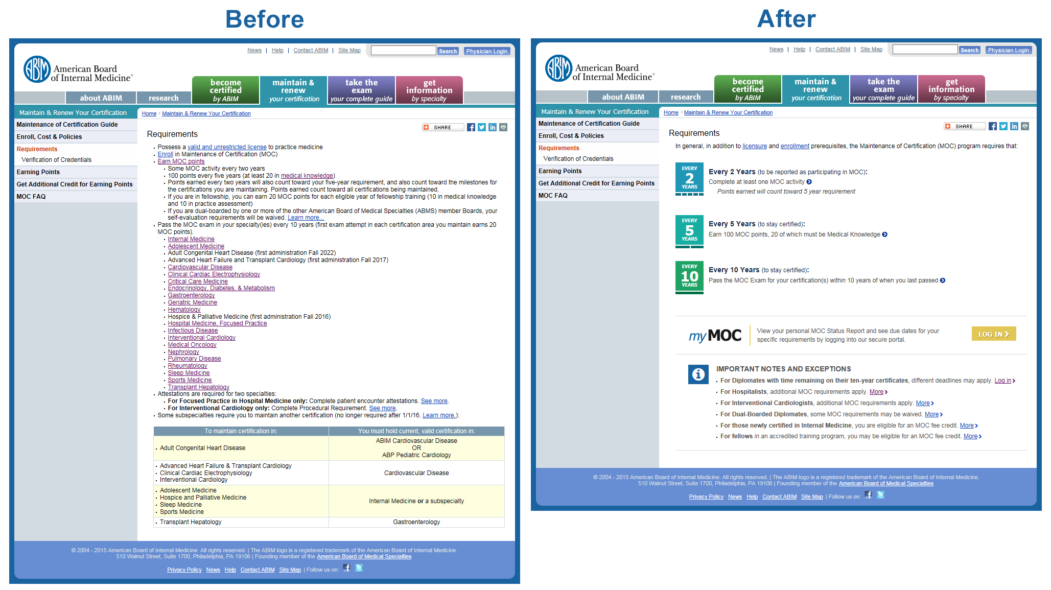before and after - moc requirements page